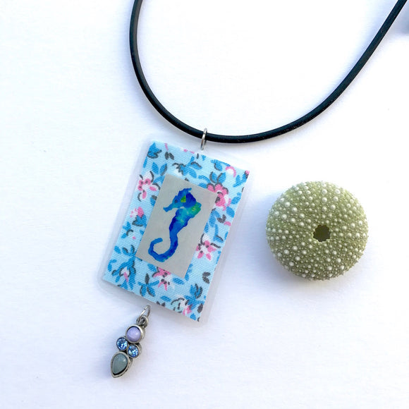Perfect Gift idea for your ocean-loving niece. Seahorse and sparkling beaded necklace - Mika Harmony