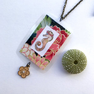 Sister-In-Law Xmas Present Gift Idea. Seahorse and Japanese gold Peony unique necklace
