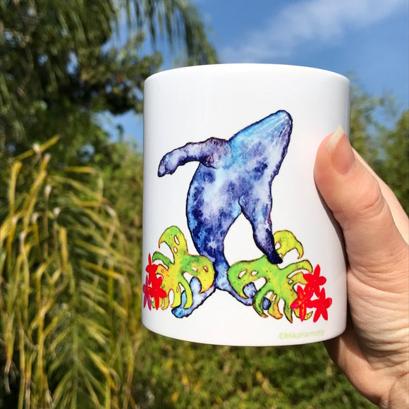 Start your Day with A WHALE MUG! New Whale and Monstera art mug, perfect for Tea Lovers! Whale mugs - Mika Harmony