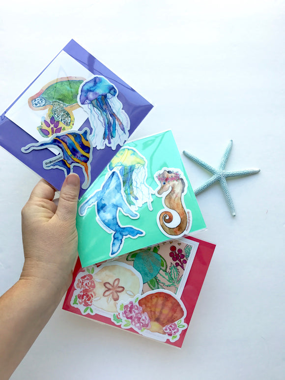 Stocking Stuffer Sticker Sets! Under The Sea Theme: Gift Idea Under $10+ great for water bottles and laptops. Perfect gift for co-workers, seaglass sisters, beach lovers, scuba divers or anyone who loves color!