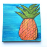 Glowing Gold and Orange Pineapple Art 12x12 Original painting on canvas