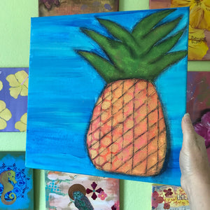 Glowing Gold and Orange Pineapple Art 12x12 Original painting on canvas - Mika Harmony