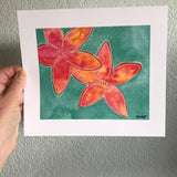 Aloha Plumeria Prints, Lava Plumeria and Orange Flame Plumeria Plus ALOHA Roses