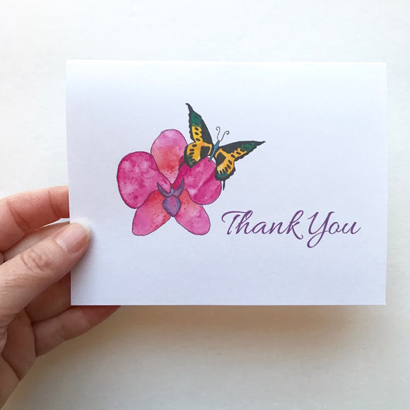 THANK YOU: Butterfly Greeting Card SET of 4 cards - Mika Harmony