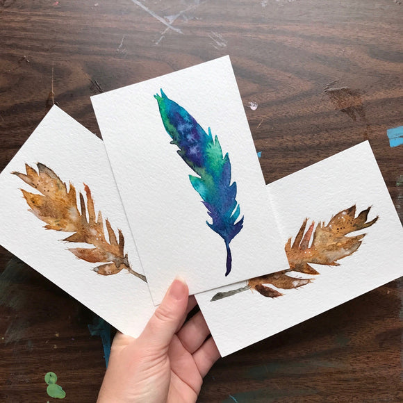 Original Feather watercolors; Bird of Paradise, Hawaiian Owl and More!