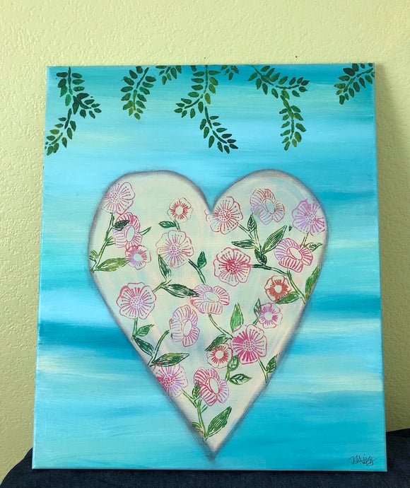 Floral Heart ORIGINAL PAINTING, size 20