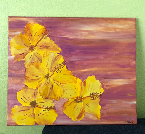 Yellow Hibiscus ORIGINAL PAINTING, size 18x24