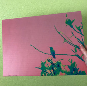 Pink and Green Hummingbird artwork printed on wood! wired and ready to hang now; size 15x11