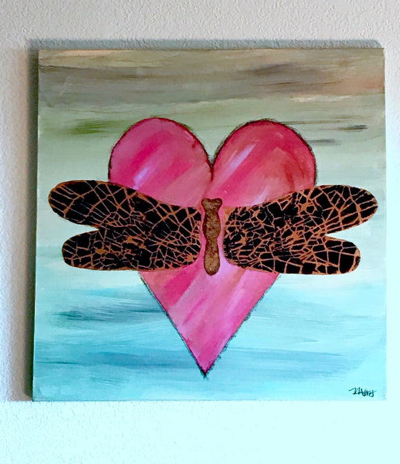 Bronze-winged Dragonfly on heart painting, Original acrylic art size 20