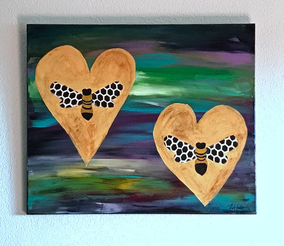 Honeycomb Wing Bees Painting on Galaxy colored acrylic Canvas, 24