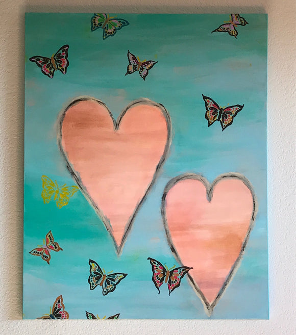 Butterflies and Hearts ORIGINAL PAINTING, size 24