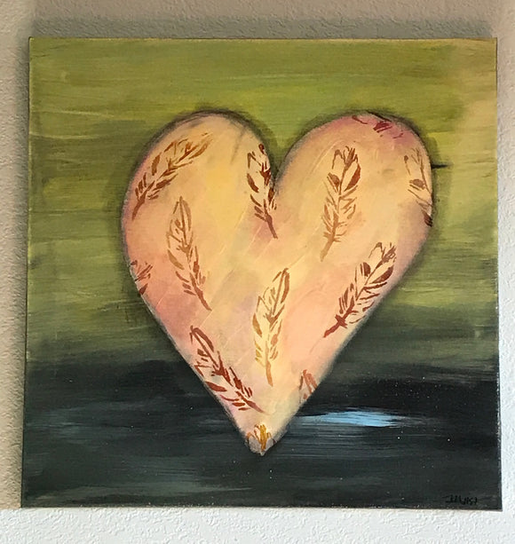 Feathered Heart in Peaches, Greys and Green ORIGINAL PAINTING, size 20