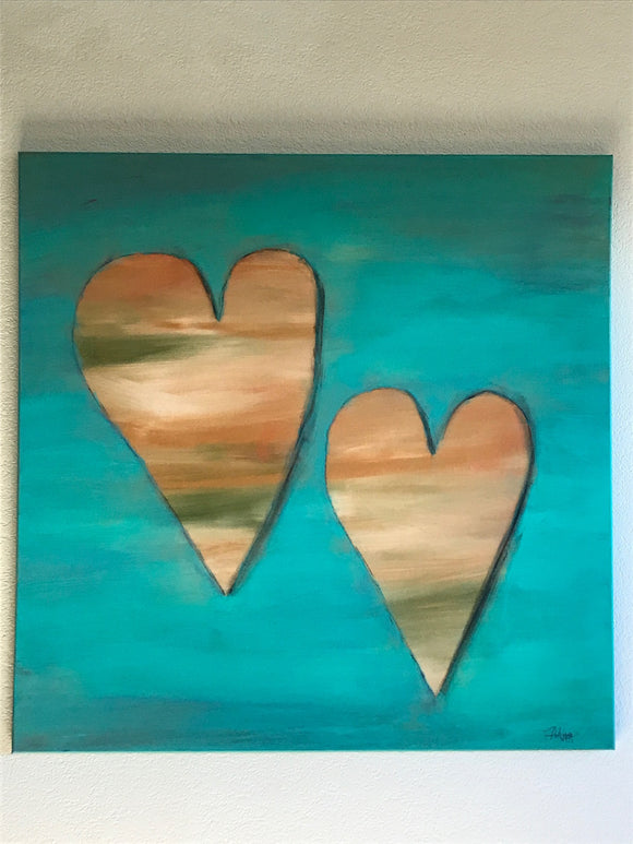 Double Hearts: ORIGINAL PAINTING, size 36