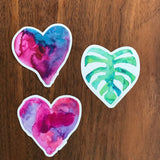 tropical plants and heart watercolor decals for laptop
