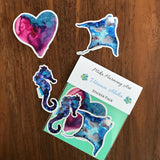 "Manta Ray, Galaxy-colored Seahorse and Unicorn Heart Watercolor Limited Edition Sticker Set!  ""Deep Sea Diver"" Set. Great gift idea under $10 - Mika Harmony"