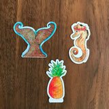 "Tropical Orange Mermaid Tail Sticker + Flower Crown Aloha Seahorse and ALOHA Pineapple sticker. Limited Edition ""Sunkissed Aloha"" Sticker set. - Mika Harmony"