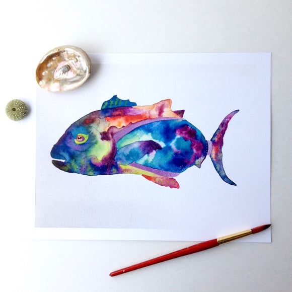 Tropical Hawaiian Fish Watercolor, 5x7