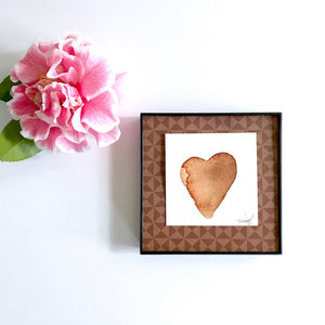 "Boyfriend, Husband present under $20, ""Island Heart"" Original Heart art framed 4x4 - Mika Harmony"