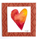 """Boho Sunset Heart"" in deep orange and rich yellow tones. Great original art for Bohemian decor - Mika Harmony"