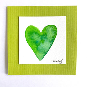 """Starfruit Lime Heart"" Original watercolor Art. Fresh, fruity gift full of fun colors! - Mika Harmony"
