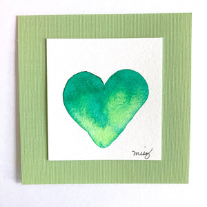 """New Beginnings Spring"" Heart in delicate green watercolor shades celebrating 2nd chances - Mika Harmony"