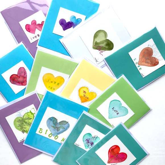 Handpainted watercolor greeting cards- with stamped accents on watercolor paper- Ready to Ship Now! For Anniversaries,  Just Because, Valentine's Day and more
