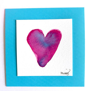 """Unicorn Laughter"" heart watercolor in luscious pinks, purples and turquoise. Something special for your best friend! - Mika Harmony"