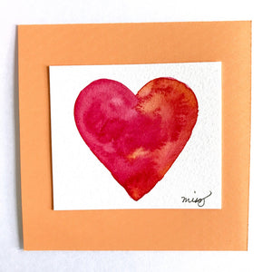 """Passion"" Valentine's watercolor in saturated shades of scarlet red and orange bronze. - Mika Harmony"