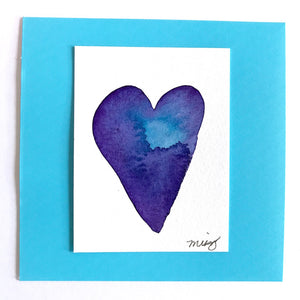 """Deep Blue Sea"" Heart in the darkest blues and touches of purple, celebrating the mystery of the sea - Mika Harmony"