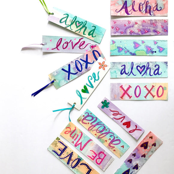 Handpainted Bookmarks : choose from Love or Aloha design - Mika Harmony