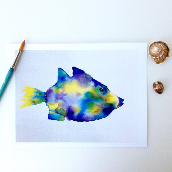 Humuhumu Fish Watercolor in blues and yellows, 5x7 Art Print
