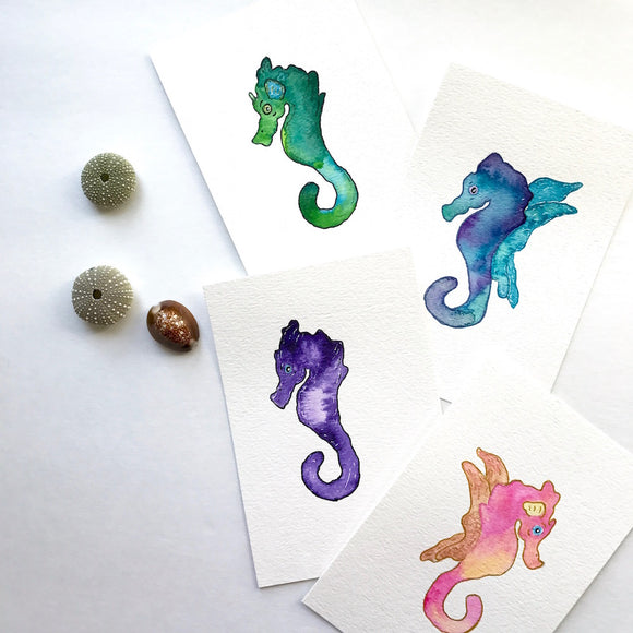 Original Gemstone Seahorse Collection: 4x6 Paintings, ready to bring color and happy to your walls!