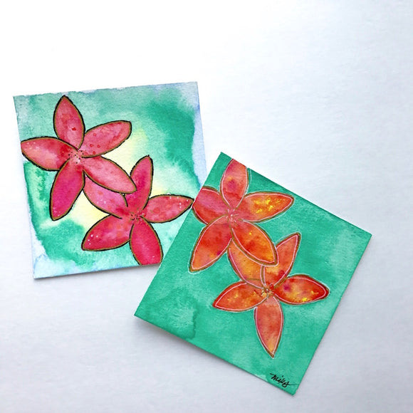 ORIGINAL Plumeria Watercolors Original Hawaiian themed art: size 4x4