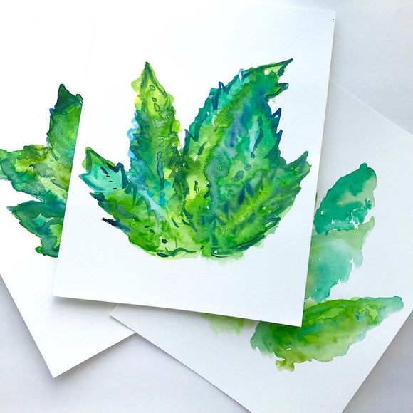 ORIGINAL Tropical leaf watercolor paintings inspired by rainforests of tropical isles: size 9x12
