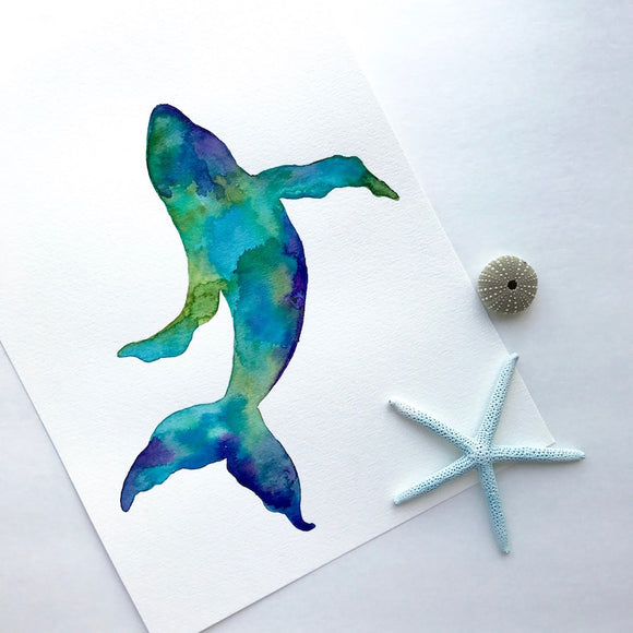 ORIGINAL WATERCOLOR, Silhouette of Maui Humpback Whale in gorgeous tropical watercolors: Size 9x12 - Mika Harmony