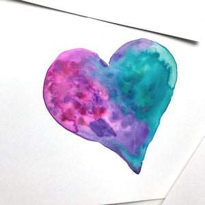 Cotton Candy-colored Unicorn Watercolor Heart paintings, 6x8 Ready to Frame, Great gift idea!