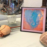 Teal Seahorse in Bronze Heart Framed 4x4 Artwork