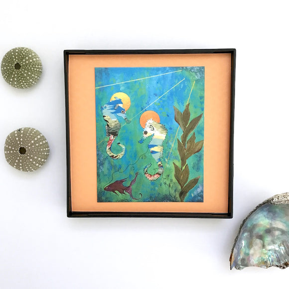 Aloha Print Seahorse Artwork on Peach Colored backing paper, Framed 4x4 Artwork