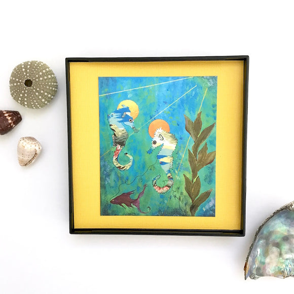 Seahorse Pair and Purple Fish Mixed Media Artwork mounted on golden yellow, Framed 4x4 Artwork