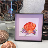 Sunrise Shell watercolor with purple roses, Framed 4x4 Artwork