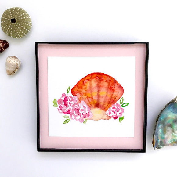 Sunrise Shell watercolor with pale pink roses, Framed 4x4 Artwork