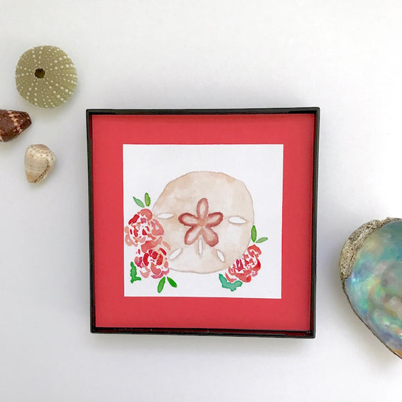Earth toned Sand Dollar accented with peachy orange roses, Framed 4x4 Artwork - Mika Harmony