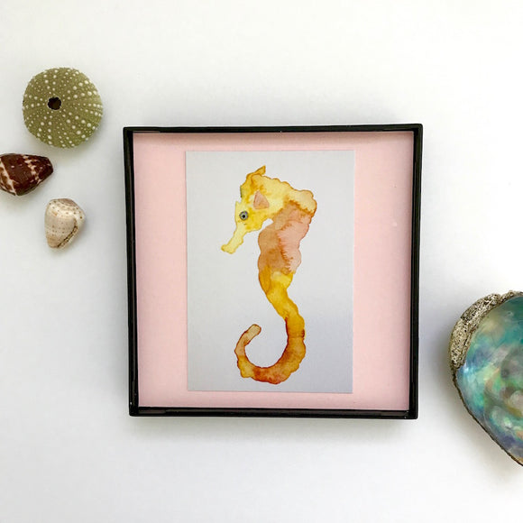 Golden Yellow Seahorse on Pale Pink 4x4 watercolor Framed and ready to hang!