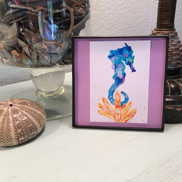 Turquoise Seahorse with Sunshine Orange Aura Crystals 4x4 watercolor print