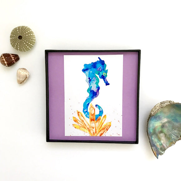 Turquoise Seahorse with Sunshine Orange Aura Crystals 4x4 watercolor print - Mika Harmony