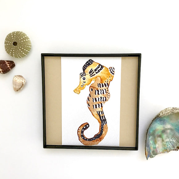 Zebra Yellow Seahorse 4x4 watercolor framed print - Mika Harmony