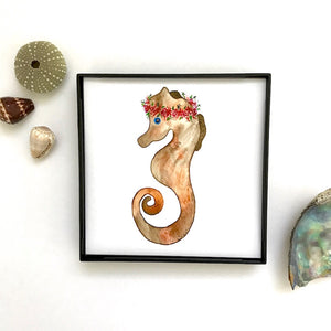 Flower Crown Haku Lei Earth tone seahorse watercolor print, framed and ready to hang!