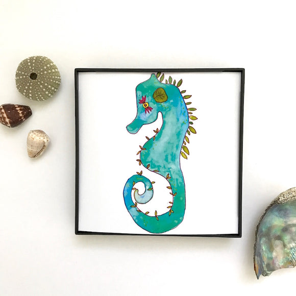 Woodland Green Seahorse in Grassy Greens and Olive tones, watercolor print. Framed and ready to ship!