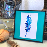 Blue and Green tropical feather, perfect Boho Bedroom Art- Framed and ready to ship!