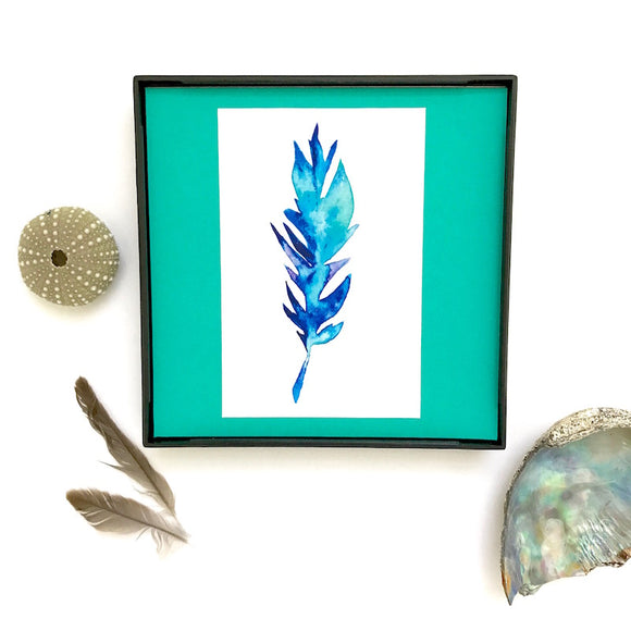 Blue and Green tropical feather, perfect Boho Bedroom Art- Framed and ready to ship! - Mika Harmony